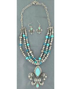 Blazin Roxx Triple Strand Beaded Fleur-De-Lis Necklace & Earrings Set, , hi-res