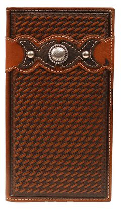 Ariat Fancy Overlay & Concho Basketweave Rodeo Wallet, Tan, hi-res