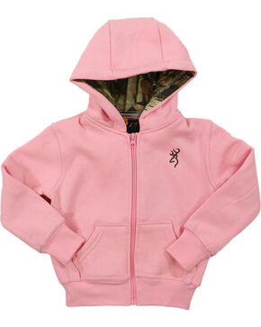 Browning Toddler Girls' Buckmark Camo Lined Hoodie, Light/pastel Pink, hi-res
