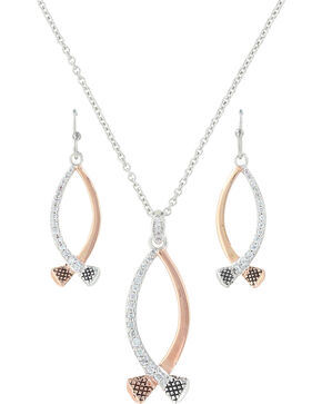 Montana Silversmiths Women's Silver Crossing Paths Horseshoe Nail Jewelry Set , Silver, hi-res