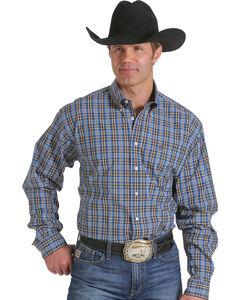 Cinch Men's Blue and Brown Plaid Western Shirt , , hi-res