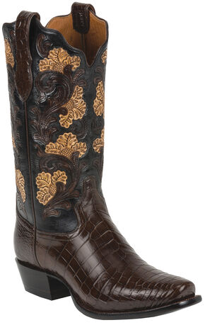 Tony Lama Kango Hand-Tooled Signature Series Nile Crocodile Western Boots - Square Toe , Kango, hi-res