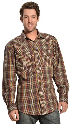 Red Ranch Small Brown Check Western Shirt, Black, hi-res