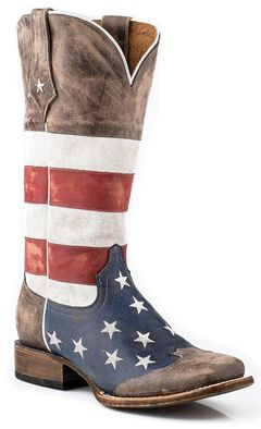 Roper Distressed American Flag Cowgirl Boots - Square Toe, , hi-res