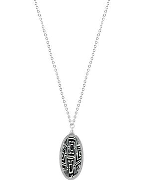 Jilzarah Black & White Silver Frame Pendant Necklace, Blk/white, hi-res