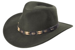 Scala Olive Wool Felt Concho Band Outback Hat, , hi-res
