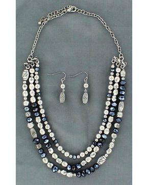 Blazin Roxx Fancy Navy Blue & Silver-tone Beaded Necklace Set, Silver, hi-res