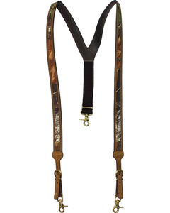Nocona Mossy Oak Leather Suspenders, , hi-res