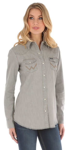 Wrangler Women's Long Sleeve Grey Demin Shirt, Grey, hi-res