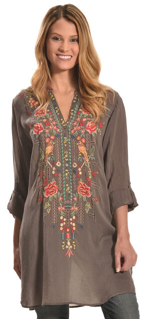 Johnny Was Women's Eyelet Garden Blouse, Grey, hi-res