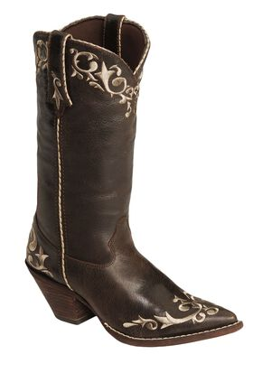 Durango Crush Floral Embroidered Cowgirl Boots - Pointed Toe, Chocolate, hi-res