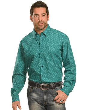 Cinch Men's Green Tonal Print Western Shirt , Green, hi-res