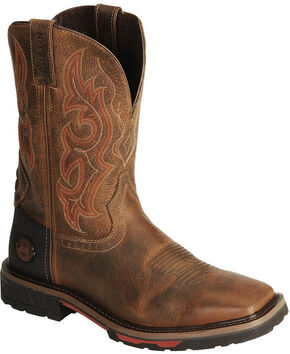 Justin Hybred Work Boots - Square Toe, Tan, hi-res