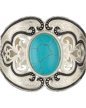 Montana Silversmiths Silver Turquoise Oval Stone Bracelet, Silver, hi-res