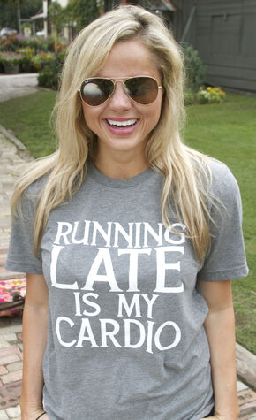 "ATX Mafia Women's Grey ""Running Late is My Cardio"" T-Shirt, Grey, hi-res"