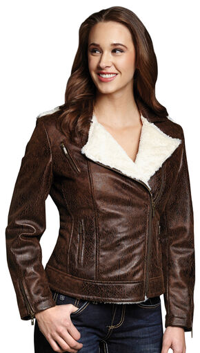 Cripple Creek Distressed Faux Shearling and Leather Jacket, Pecan, hi-res