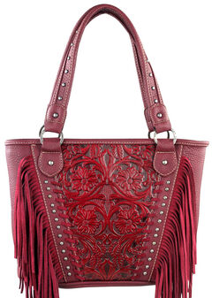 Montana West Trinity Ranch Red Tooled Design Concealed Handgun Collection Handbag with Fringe, , hi-res