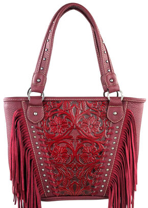 Montana West Trinity Ranch Red Tooled Design Concealed Handgun Collection Handbag with Fringe, Red, hi-res