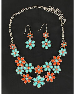 Blazin Roxx Red and Green Daisy Necklace & Earrings Set, , hi-res