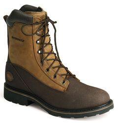 "Justin WorkTek 8"" Lace-Up Work Boots - Steel Toe, Brown, hi-res"