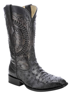 Corral Full-Quill Ostrich Skin Cowboy Boots - Square Toe, , hi-res