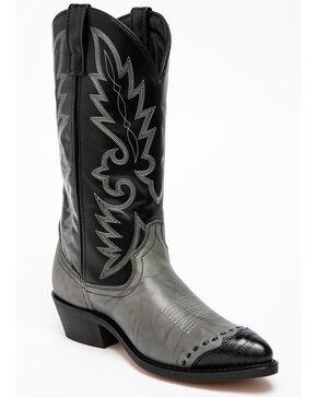 Laredo Lizard Print Wingtip Cowboy Boots, Grey, hi-res