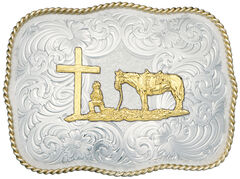 Montana Silversmiths Christian Cowboy Fancy Belt Buckle, Silver, hi-res