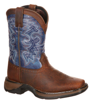 Durango Toddler Boys' Navy Blue Western Boots - Square Toe, Dark Brown, hi-res