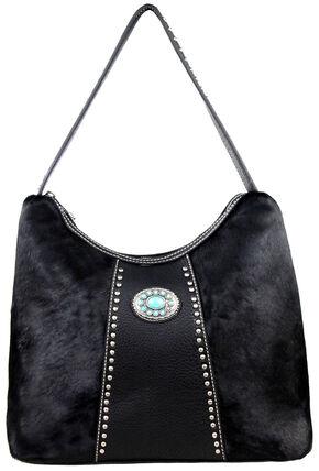 Montana West Black Trinity Ranch Hair-on Leather Handbag, Black, hi-res