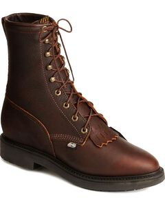"Justin Original Men's Briar Pitstop Double Comfort 8"" Lace-Up Work Boots, , hi-res"