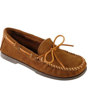 Men's Minnetonka Camp Moccasins - XL, Dusty Brn, hi-res