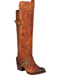Lane Julie Knee-High Cowgirl Boots - Round Toe, , hi-res