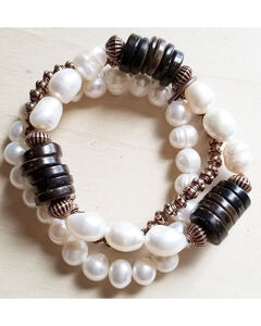 Jewelry Junkie Women's Freshwater Pearl and Wood Bracelets, White, hi-res