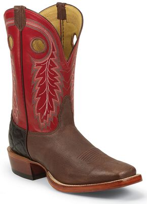 Nocona Caprock Cowboy Boots - Square Toe, Brown, hi-res