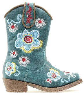 Blazin Roxx Toddler Girls' Sage Floral Embroiderd Side Zipper Cowgirl Boots - Snip Toe, Turquoise, hi-res