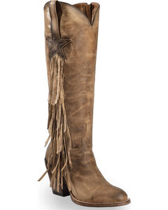 Lucchese Tan Lanie Tall Fringe Boots - Round Toe , , hi-res