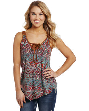 Cowgirl Up Women's Printed Lace-Up Shirt , Multi, hi-res
