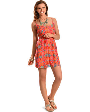 Derek Heart Orange Print Open Back Smock Dress , Peach, hi-res