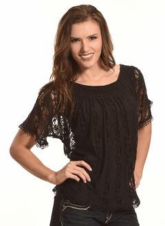 Tantrums Women's Black Lace Peasant Top, , hi-res
