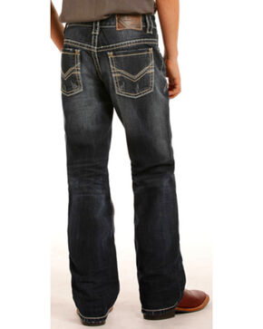 Rock & Roll Cowboy Boy's BB Gun Antique Gold Rivets Regular Fit Boot Cut Jeans, Dark Blue, hi-res