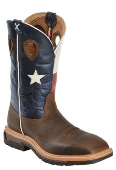 Twisted X Lite Texas Flag Pull-On Work Boots - Square Toe, , hi-res