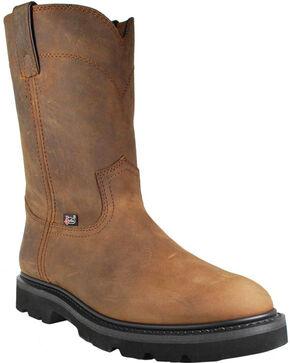 Justin Men's Steel Toe Work Boots - Round Toe , Brown, hi-res