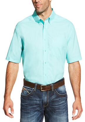 Ariat Men's Aqua Solid Short Sleeve Alden Shirt, Aqua, hi-res