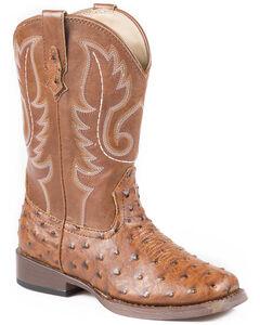 Roper Boys' Ostrich Print Cowboy Boots - Square Toe, , hi-res