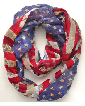 Big Sky Carvers Women's Stars and Stripes Infinity Scarf, Red/white/blue, hi-res
