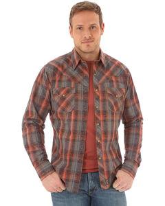Wrangler Retro Men's Plaid Scroll Long Sleeve Shirt - Tall, Coral, hi-res