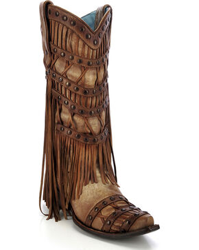 Corral Women's Studded Fringe Cowgirl Boots - Snip Toe, Tan, hi-res