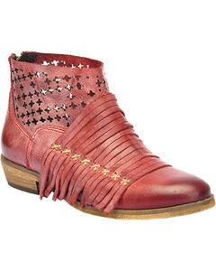 Corral Burnished Strappy Lasercut Short Boots - Round Toe, , hi-res