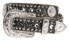 Blazin Roxx Black Tooled Concho Belt, , hi-res
