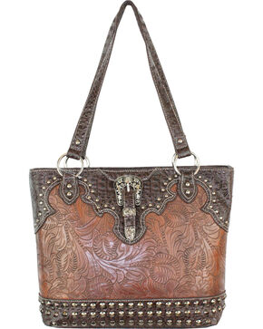 Savana Brown Tooled Conceal Carry Buckle Purse, Brown, hi-res